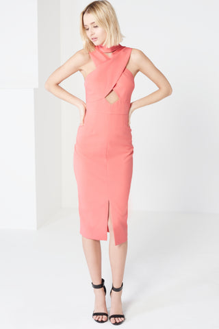 Lavish Alice Coral Pink High Neck Cut-Out Detail Centre Split Midi Dress