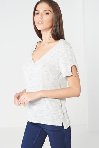 LAVISH ALICE Grey Marl Open Ring Detail Sleeve Jersey T-Shirt