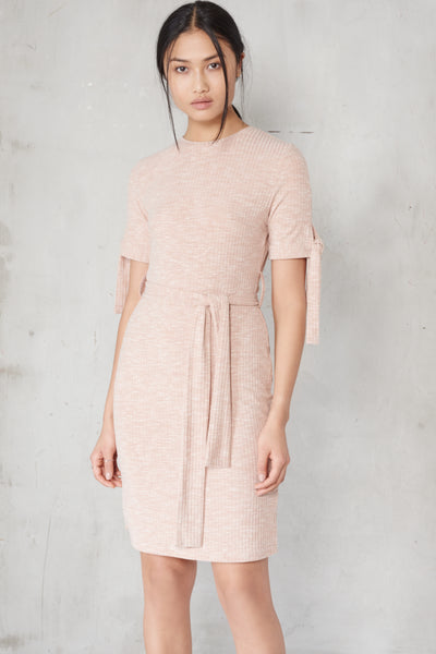 LAVISH ALICE Nude Rib Jersey Tie Detail Dress