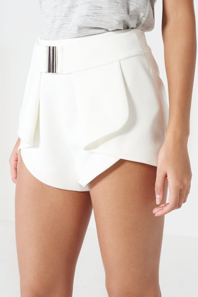 LAVISH ALICE Off White Harness Belt Fold Back Shorts