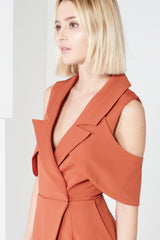 Lavish Alice Terracotta Open Sleeve Deep Plunge Tailored Playsuit