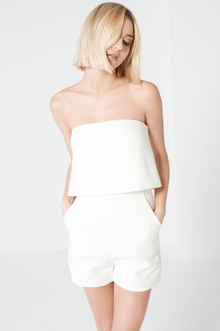 Lavish Alice White Bandeau Cropped Playsuit