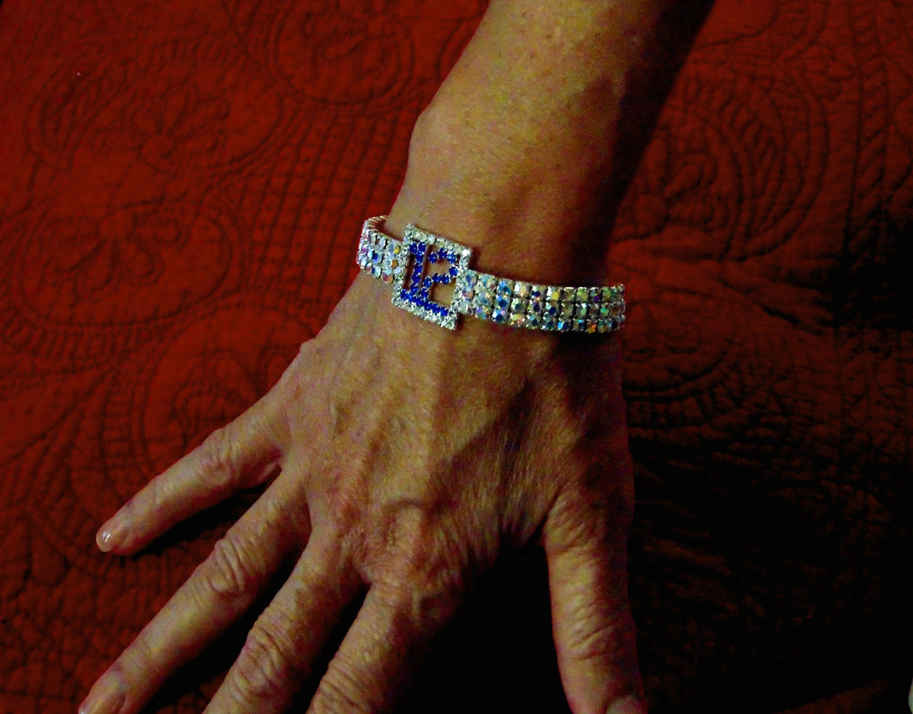 "THE PERFECT GIFT FOR YOUR 12TH WOMAN BLUE FRIDAY BLING BRACELET ""DIAMONDCUT"