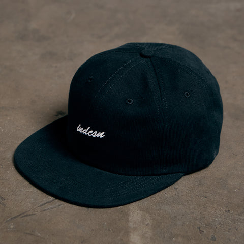 Micro Script 6 Panel Cap - Black (Made In USA)