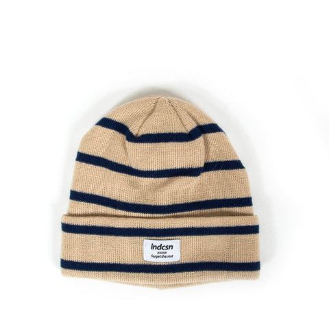 Forget The Rest Stripe Beanie - Tan/Navy