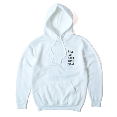 Bite The Hand That Feeds Pullover Hoody - White