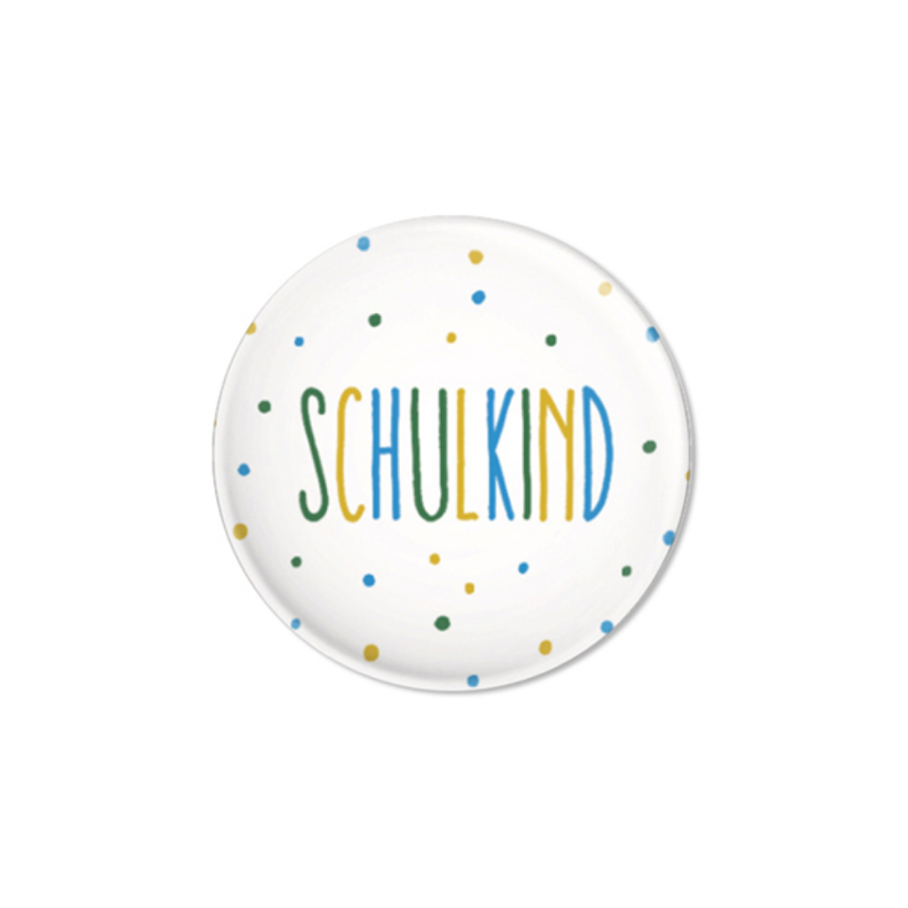 Button // Schulkind Konfetti blau