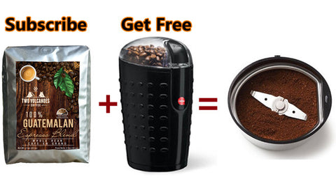2-lbs Whole Bean Dark Roast Espresso Blend Coffee + Grinder: (Only on Subscribe & Save)