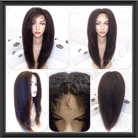 High Density Customised Kinky Straight Wig - annahair