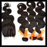 3 x 100g Bundles & Lace Closure - Peruvian Virgin Human Hair Deal - annahair