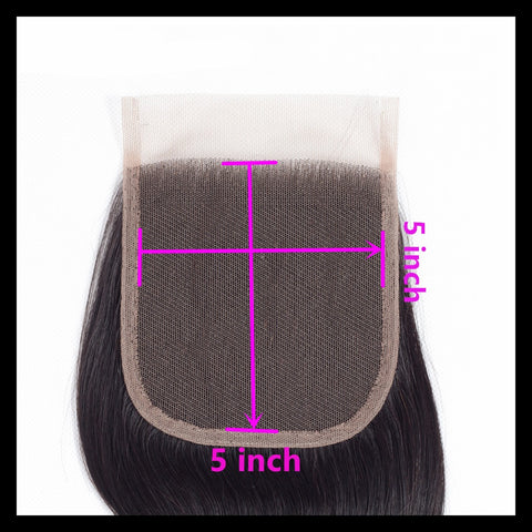 "5"" x 5"" Lace Closure - Brazilian Silky Straight Virgin Human Hair"
