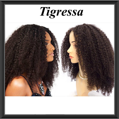 "The Tigressa Unit - Cheap Kinky Curl Virgin Human Hair Hand Made Custom 4"" x 4"" Closure Wig - annahair"