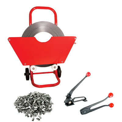 Steel Strapping Kit Including Mobile Strapping Dispenser, Tensioner, Crimper & Seals