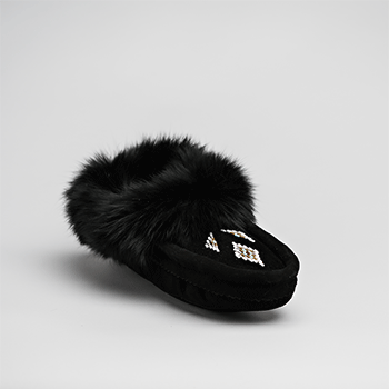 Leather Moccasin Rabbit Fur - Adult Black