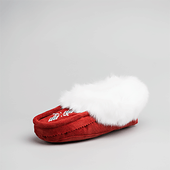 Leather Moccasin Rabbit Fur - Adult Burgundy
