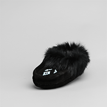 Leather Moccasin Rabbit Fur - Youth Black