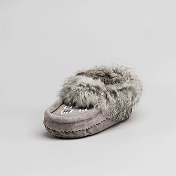 Leather Moccasin Rabbit Fur - Child Grey