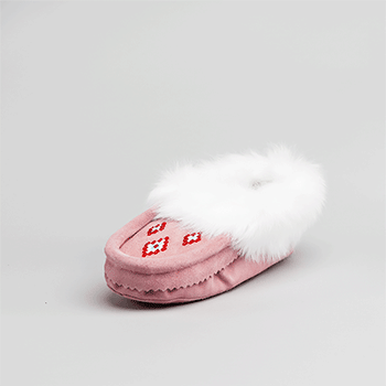 Leather Moccasin Rabbit Fur - Youth Pink