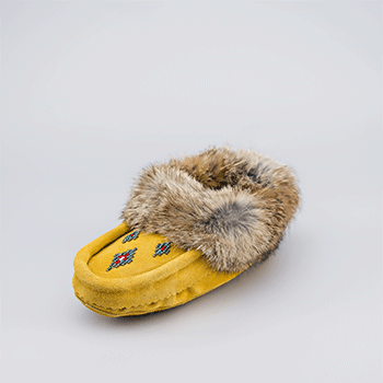 Leather Moccasin Rabbit Fur - Child Tan