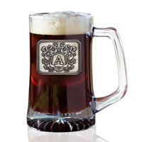 Personalized Beer Mug with Letter Crest (25 oz)