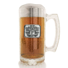 Personalized Beer Mug with Letter Crest (27 oz)