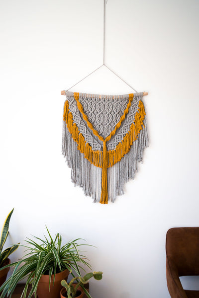 Grey Bohemian Wall Hanging with Mustard Details