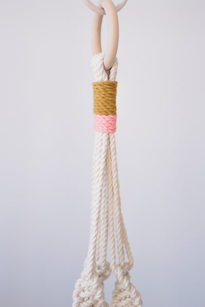 "Materials of Macrame plant hanger 40"" - Available in multiple color variations"