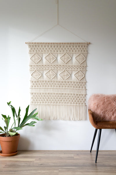 "Large Macrame Wall Hanging ""Diamonds"""