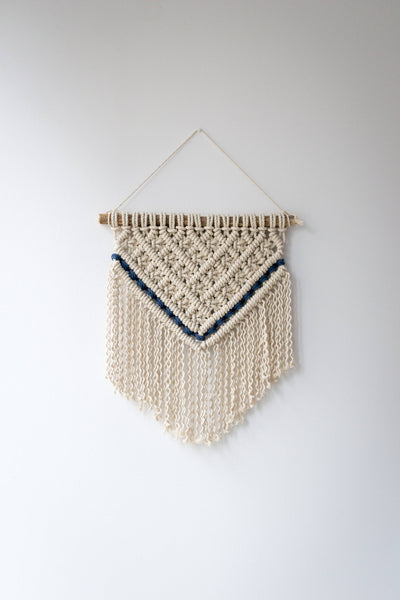 Macrame wall hanging with navy details