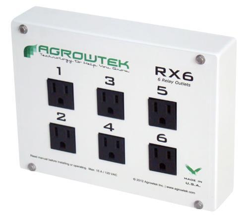 Agrowtek RX6 Six Relay Outlet 15A/120V