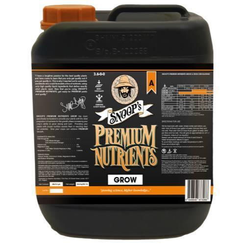 Snoop's Premium Nutrients Grow A Non-Circulating 10 Liter (Soil and Hydro Run To Waste) (2/Cs)