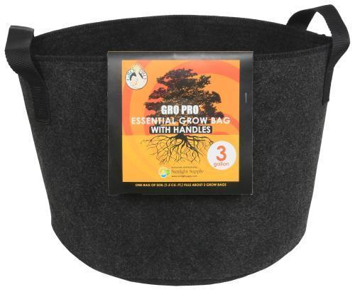 Gro Pro Essential Round Fabric Pot w/ Handles 3 Gallon - Black (72/Cs)