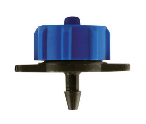 Hydro Flow Regulated Push-In Button Emitter Blue 2 GPH - Display Box of 100