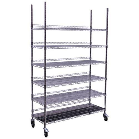 Commercial Grade Chrome Storage Rack - 6 Shelves w/ Backstop & Casters
