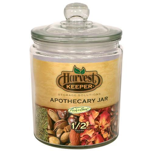 Harvest Keeper Glass Storage Apothecary Jar w/ Sealed Lid - 1/2 Gallon Case of 6