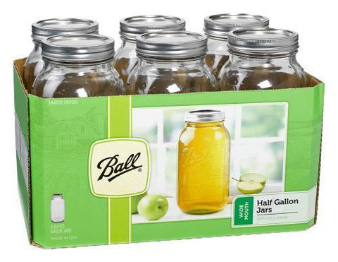 Ball Jars Wide Mouth Half Gallon Case of 6