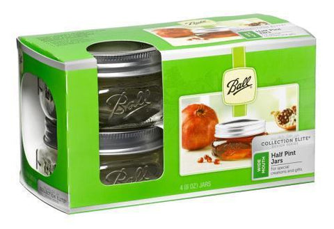 Ball Jars Collection Elite Wide Mouth Half Pint 4/Pack Case of 16