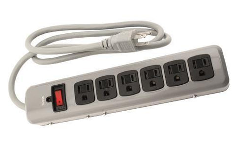Power All Indoor Metal Surge Strip 6 Outlet 125 Volt 4 ft Cord