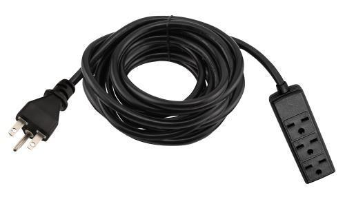 Power All 240 Volt 12 ft Extension Cord w/ 3 Outlet Power Strip - 14 Gauge
