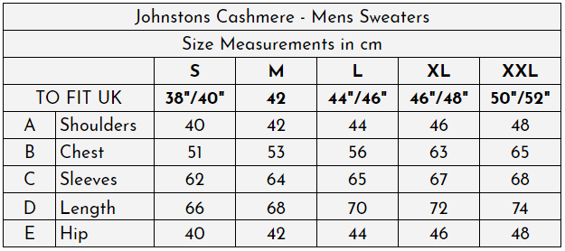 Johnstons Cashmere - Mens Sweaters at The Cashmere Choice - Size Guide (cm)