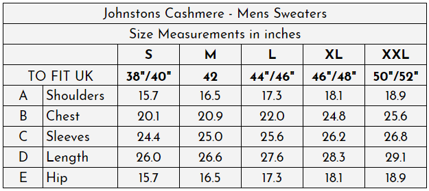 Johnstons Cashmere - Mens Sweaters at The Cashmere Choice - Size Guide (inches)