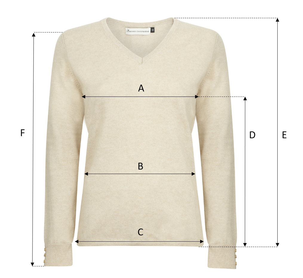 Lomond Cashmere - Ladies Sweater Size Guide - Sweater Image