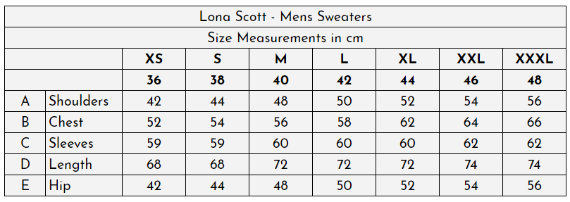 Lona Scott - Mens Cashmere at The Cashmere Choice - Size Guide (cm)