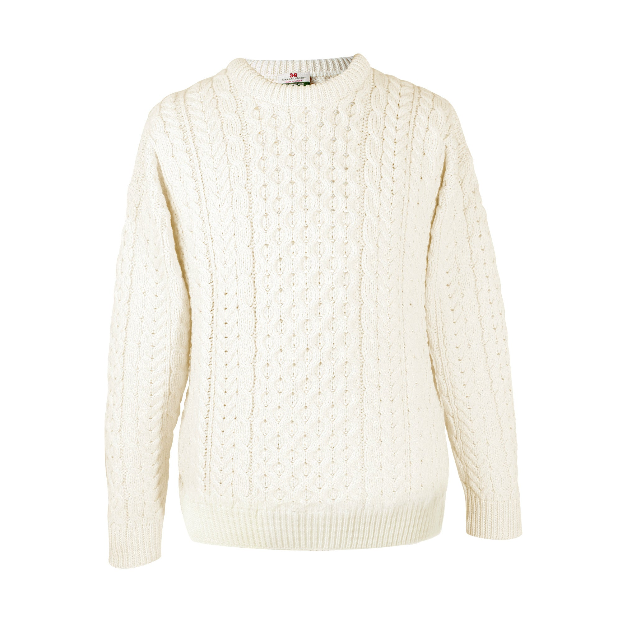 White Aran Sweater | Round Neck | The Cashmere Choice | London