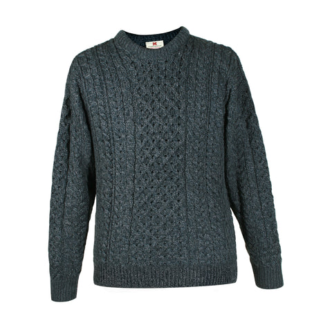 Charcoal Aran Sweater | Round Neck | The Cashmere Choice | London