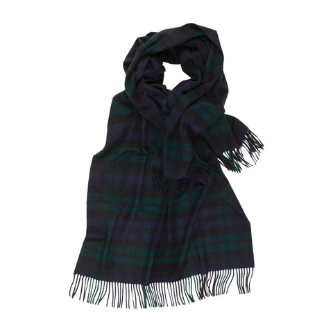 Johnsons of Elgin | Black Watch Tartan Cashmere Stole Large Scarf | buy at The Cashmere Choice | London
