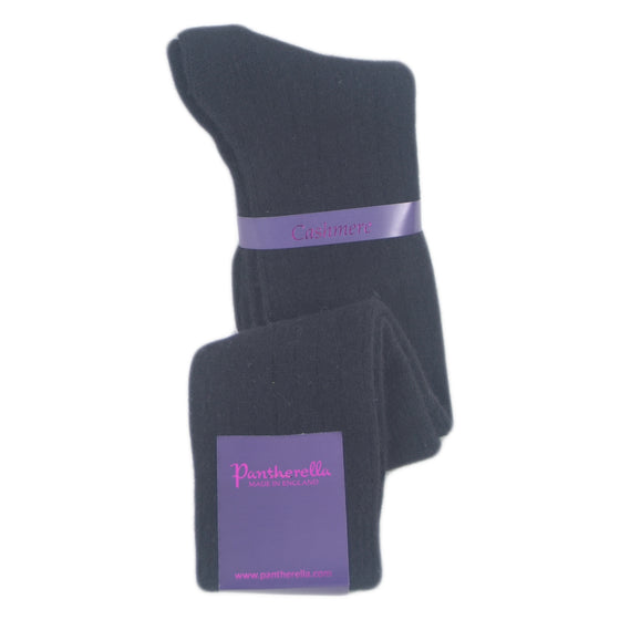 Black Ladies Cashmere Socks | Knee Hight Socks | buy now at The Cashmere Choice London