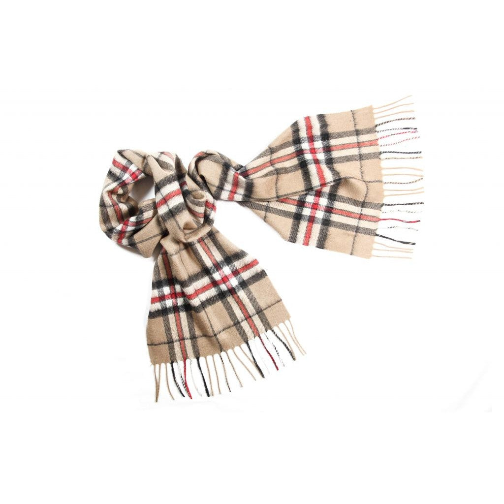 Camel Thompson Tartan Cashmere Scarf | buy at The Cashmere Choice | London