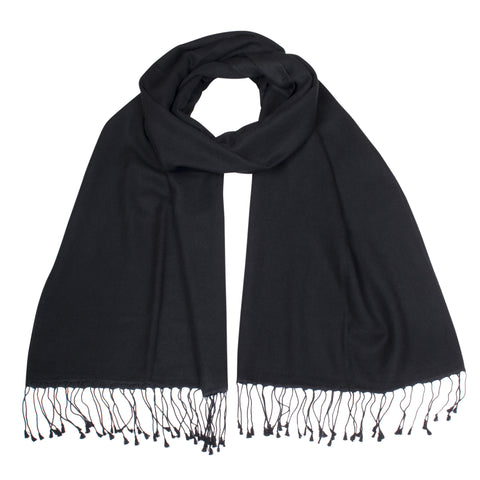 Black Pashsmina Stole | buy now at The Cashmere Choice London