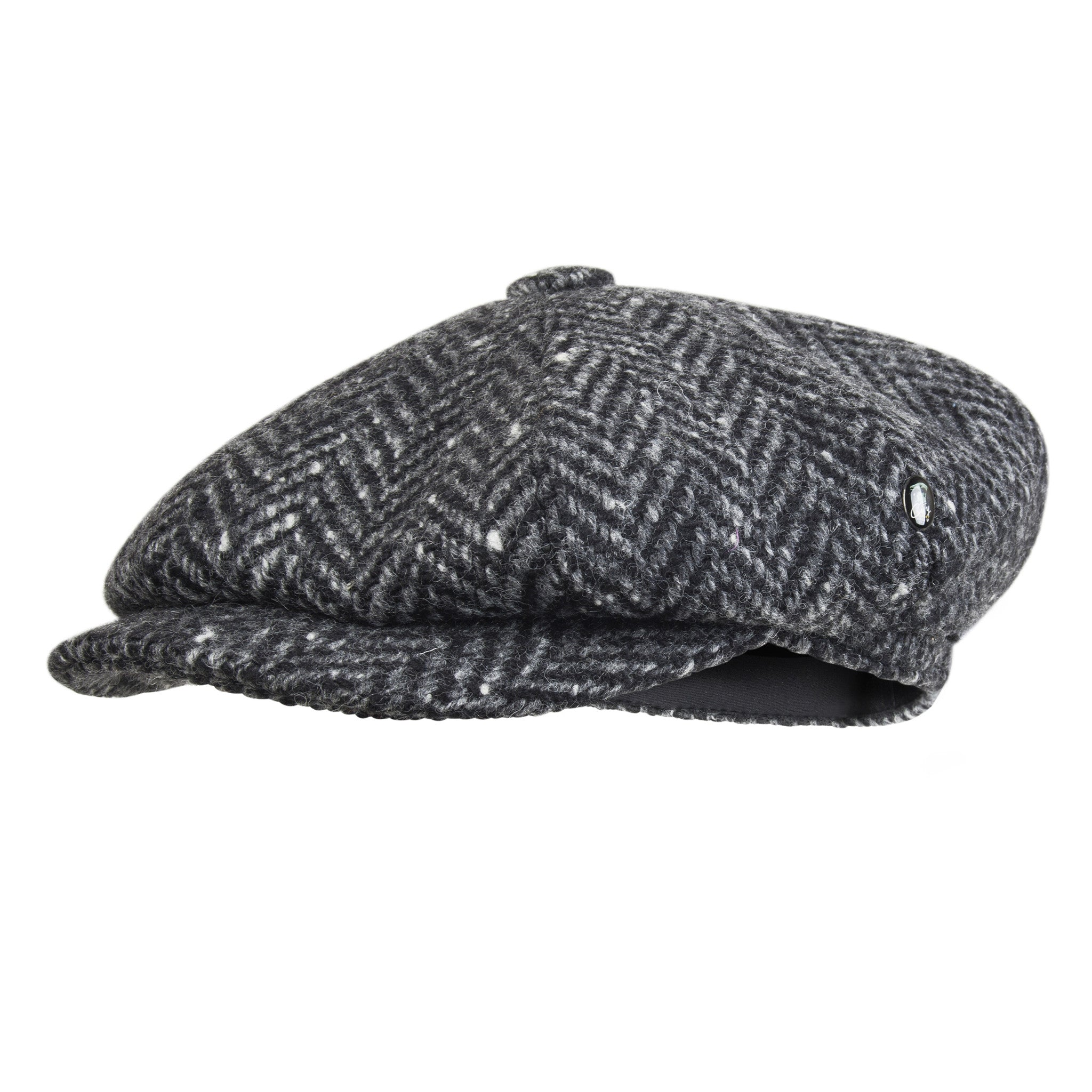 Donegal Tweed bakerboy cap | Grey Herringbone | buy now at The Cashmere Choice London